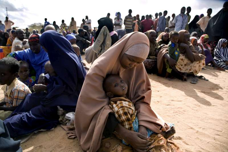 Somali refugees after arrival at Hagadera camp in the north-east Kenyan district of Dadaab. The Dadaab camps are the most crowded in the world, housing almost 300,000 though built for just 90,000 refugees.