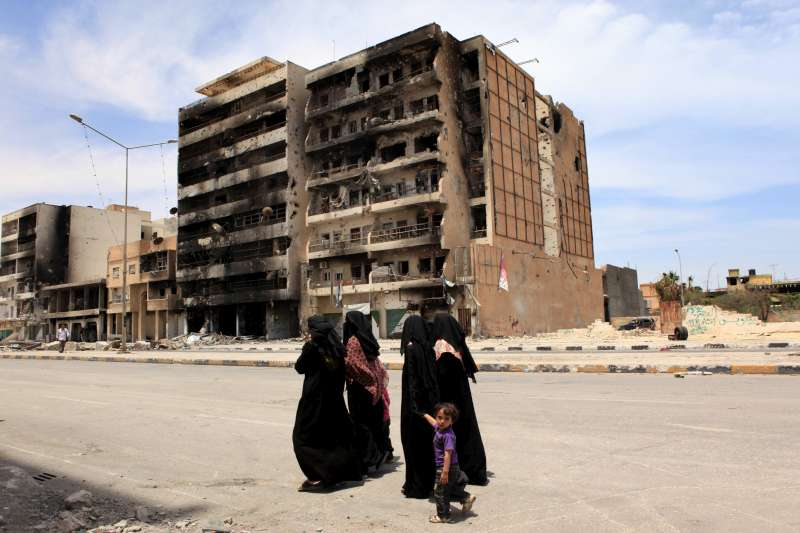 Civilians walk along Tripoli Street in Misrata. The opposition-controlled […]