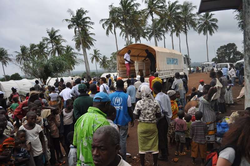 Ivorian refugees moving from the Liberian border area to Little Wlebo refugee camp in Maryland county, Liberia.