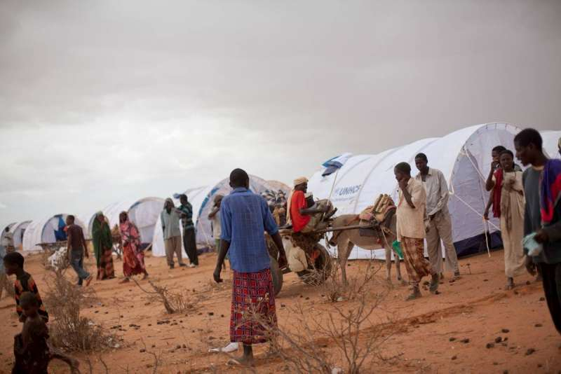 Somali refugees amongst their new tents in Ifo Extension in Dadaab, Kenya.