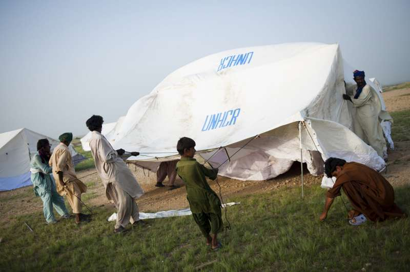Tents are set up for families displaced by the floods in Thatta district.