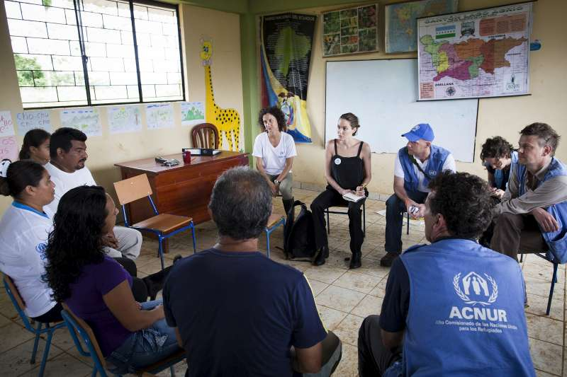 Angelina Jolie meets members of Providencia community. This isolated community was established in 1994 by refugees fleeing violence in Colombia, but received no outside help until 2008 when UNHCR reached out to them for the first time.  Since that time, the refugees have been registered and a primary school has been built, but the community still faces many challenges.