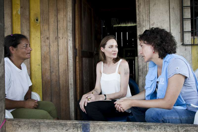 Angelina Jolie visits a refugee at her home in Sucumbios province, northern Ecuador.