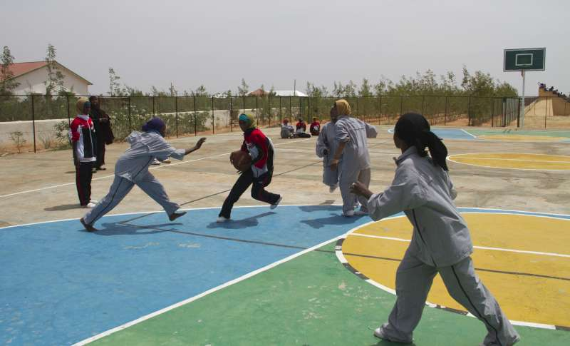 Displaced Somali girls play basketball at the GECPD resource centre in Galkayo, Somalia.