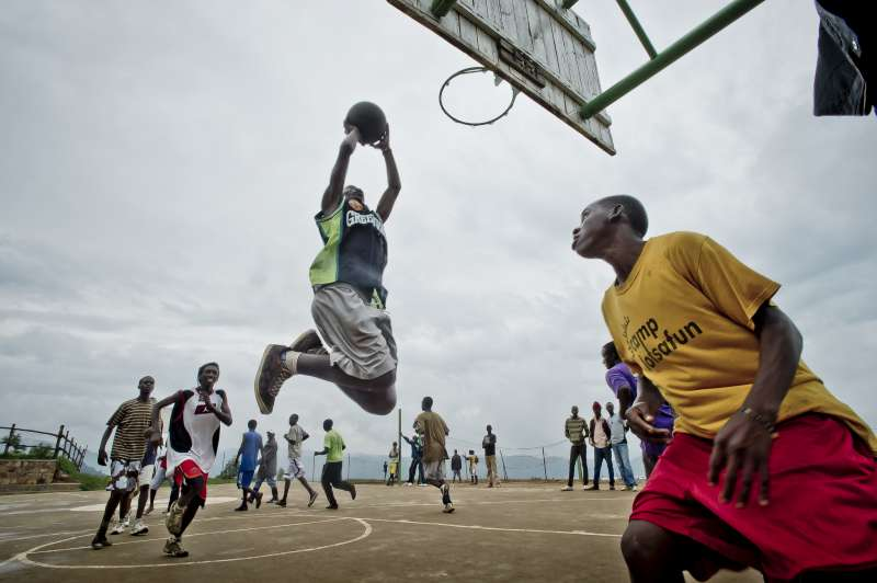 Slam-dunk on the court at Kiziba.