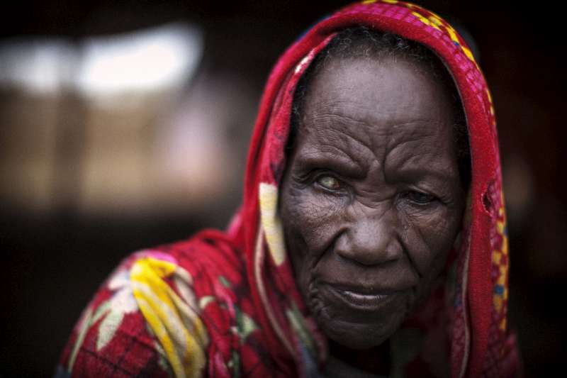 Sudanese refugee Dawa Musa, aged 80, at a transit centre in Maban County, South Sudan. Dawa's son carried her during the 15 day trek from their home village in Sudan's Blue Nile state to a camp in South Sudan.