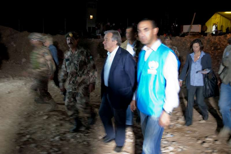 UN High Commissioner for Refugees António Guterres visits a refugee processing facility at an undisclosed location along the Syrian border where hundreds of refugees cross each day.