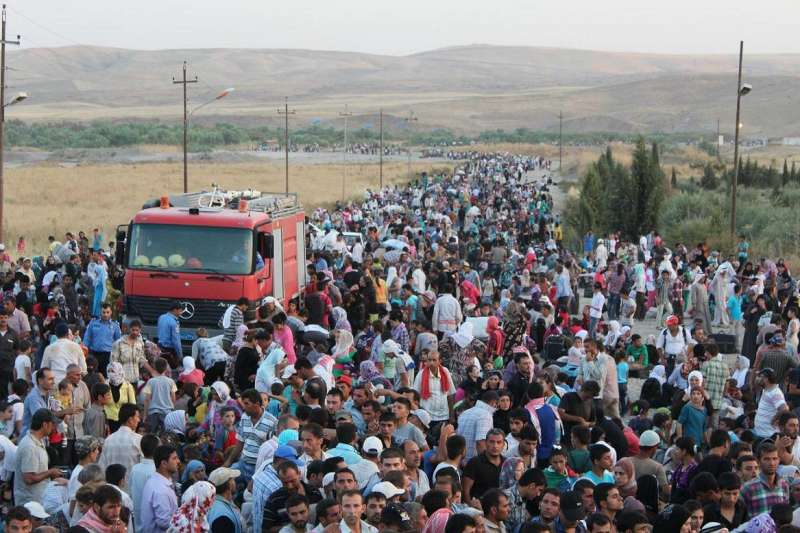 Thousands of Syrians flood across the border into Iraq recently in search of shelter.
