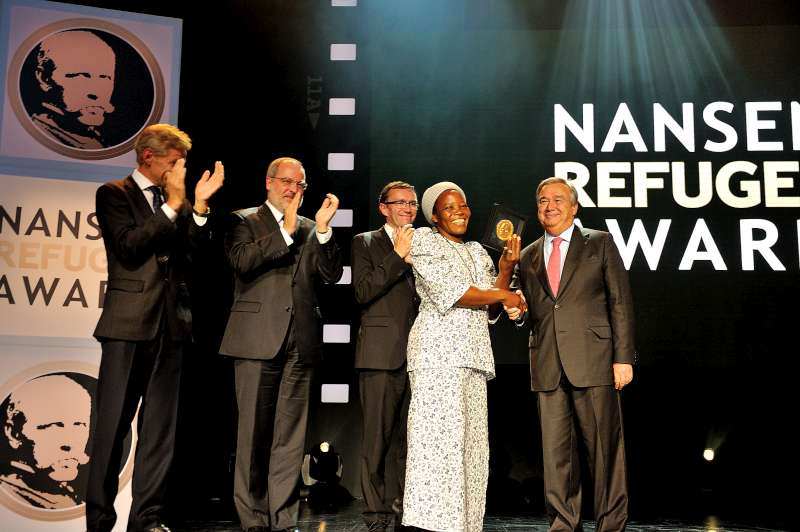 1.	UN High Commissioner for Refugee António Guterres (right) presents the 2013 Nansen Refugee Award medal to Sister Angélique Namaika of the Democratic Republic of the Congo. Behind the winner are, from left to right, Norwegian Refugee Council Secretary General Jan Egeland, Swiss Ambassador to the United Nations Alexandre Fasel, and Norwegian Foreign Minister Espen Barth Eide