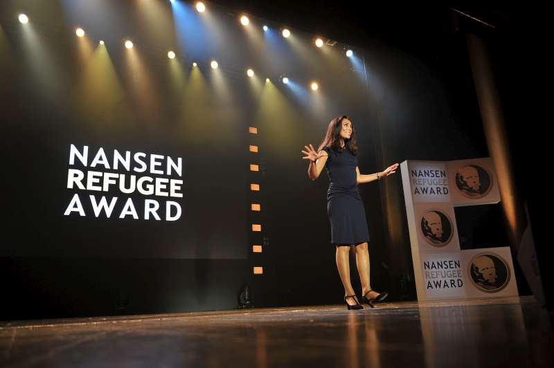 Euronews presenter, Isabelle Kumar, presides over the 2013 Nansen Refugee Award ceremony in Geneva, Switzerland.
