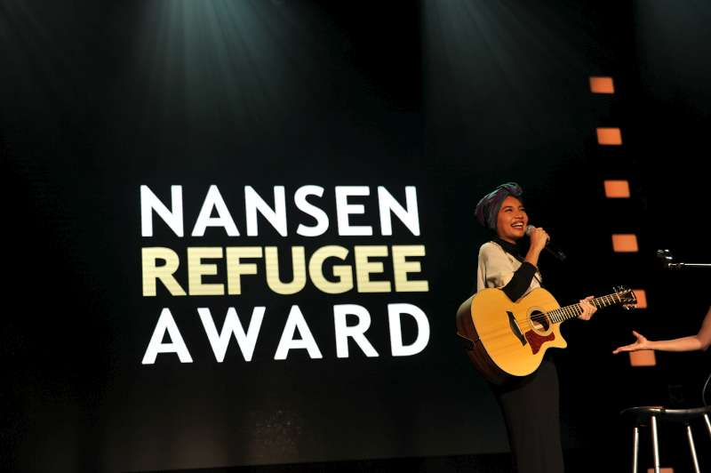 Yuna, a popular Malaysian singer-songwriter, performs at the 2013 Nansen Refugee Award ceremony.