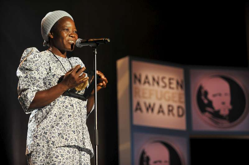 Sister Angélique Namaika from Democratic Republic of the Congo addresses the audience at the 2013 Nansen Refugee Award ceremony.