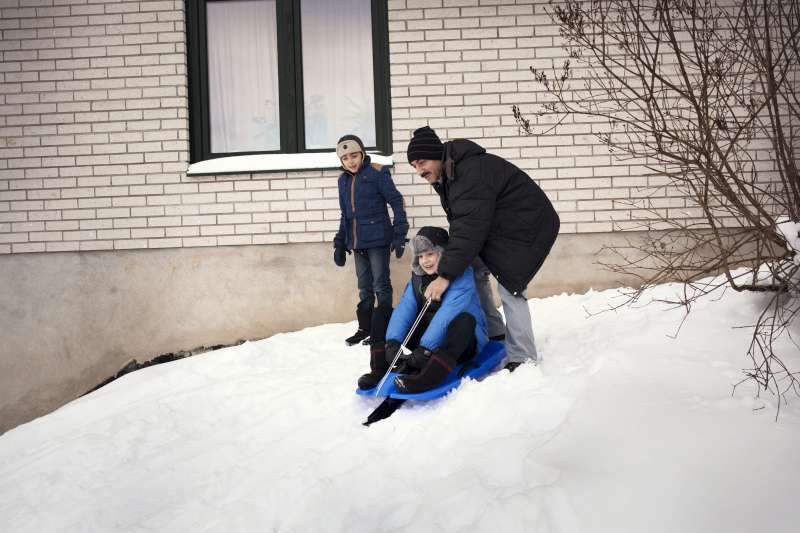 It does snow in Syria, but Mahmoud and his younger brother and sister may not have tried riding on a toboggan before. Many snow sports, including cross-country skiing, originated in Norway and the children will get a chance to learn more.