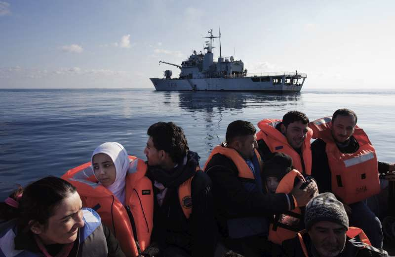 Syrian refugees are rescued in the Mediterranean Sea by crew of the Italian ship, Grecale. They will be transferred to a larger vessel, fed and given medical treatment before being transported to the mainland.