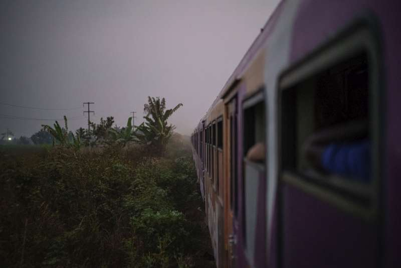 Night falls as the train from Kinshasa continues on its journey to Kimpese with hundreds on board.