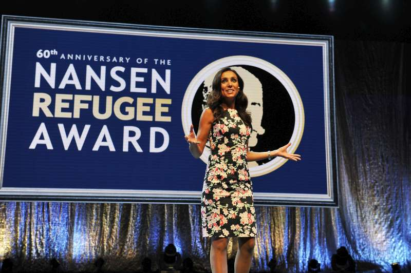 Euronews Presenter, Isabelle Kumar, presides over the Nansen Refugee Award ceremony in Geneva, Switzerland.