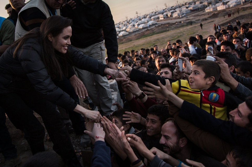 UNHCR Special Envoy Angelina Jolie meets members of the Yazidi minority in the Khanke Camp for internally displaced Iraqis.