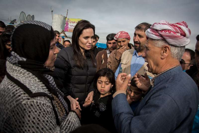 UNHCR Special Envoy Angelina Jolie talks to Syrian refugees in Domiz Camp, which hosts some 50,000 people. When she last visited, in 2012, the camps hosted just 8,500 people.