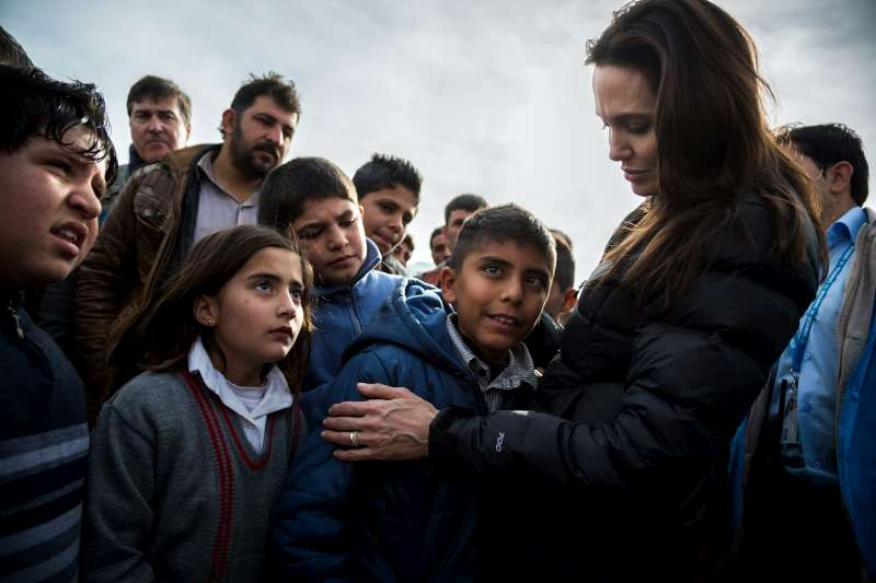 UNHCR Special Envoy Angelina Jolie meets a Syrian child living with disability in Domiz Refugee Camp. She talked to as many people as possible during her visit.