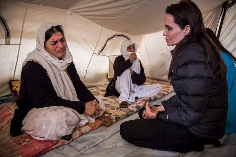 A 54-year-old Yazidi woman tells UNHCR Special Envoy Angelina Jolie of her ordeal after being kidnapped by militants in northern Iraq. She was recently released with other older women, but her daughter is still being held. The woman's husband died in the Iran-Iraq war 34 years ago.