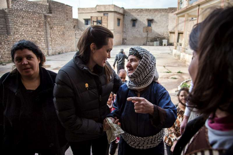 UNHCR Special Envoy Angelina Jolie meets Iraqi Christians at the abandoned school where they are living in Al Qosh, Iraq. Originally from Mosul, they have had to move several times since fleeing their home last year.