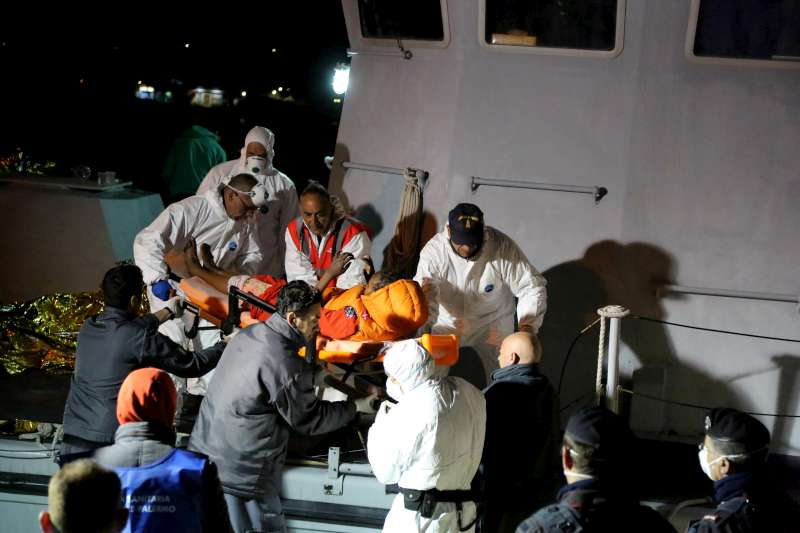 The most severely burned were disembarked on stretchers and airlifted to a hospital in Sicily.