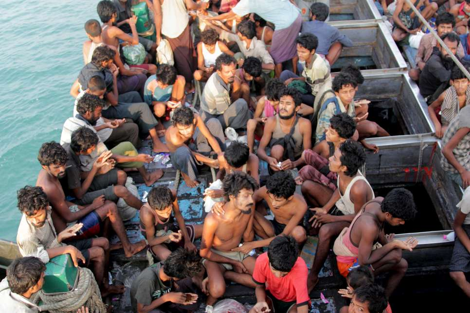Another boat filled with starving Rohingya is lucky enough to be rescued by Indonesian fishermen, who gave them a tow near the city of Geulumpang, Indonesia.