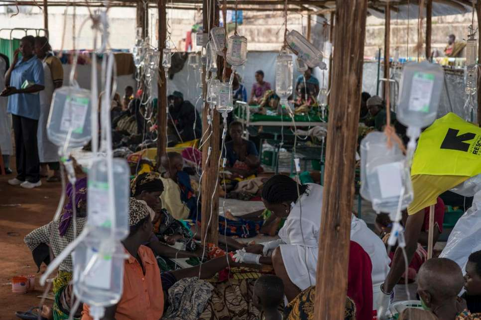 Burundian refugee are being treated for acute diarrhea by UNHCR and its partners' medical personal in the cholera treating centre set up in Kigoma stadium where refugees transit before being transferred to Nyarugusu refugee camp.