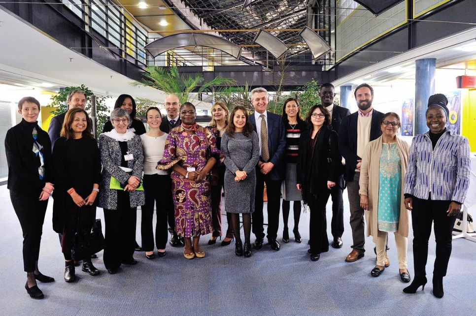 Advisory group members on Gender, Forced Displacement and Protection meet with the High Commissioner for Refugees, Filippo Grandi, Assistant High Commissioner for Protection, Volker Türk, and US Ambassador Pamela Hamamoto on the eve of the group's inaugural meeting.