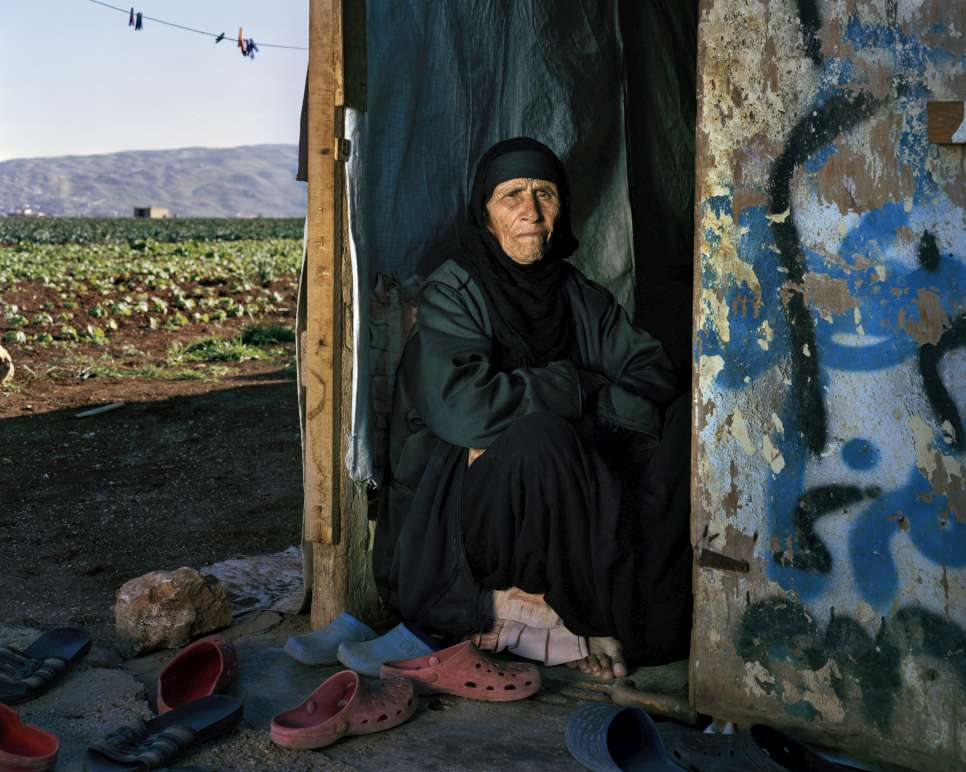 Saada Al Jomaa, 102, pictured in her son's rented home in Nabi Chit, Bekaa Valley, Lebanon.