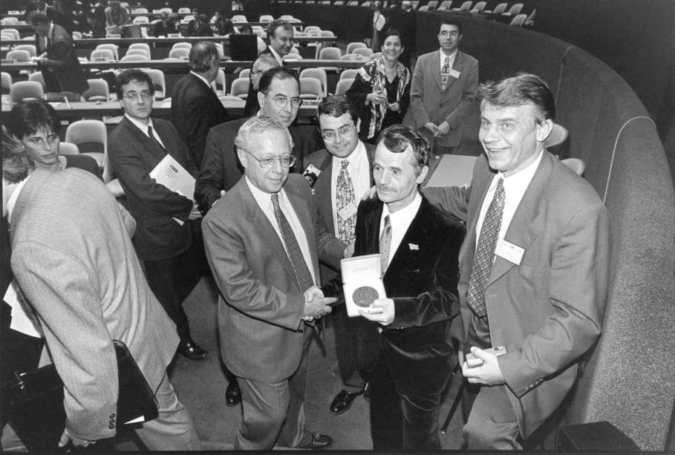 1998 - Mustafa Dzhemilev, received the Nansen Medal in recognition of his outstanding efforts to help Crimean Tartars reintegrate in their native Ukraine. As President of the Association of Crimean Tartars and a member of the Ukrainian parliament, Dzhemilev worked tirelessly with UNHCR to help tens of thousands of Tartars recover their Ukrainian citizenship and their basic rights.