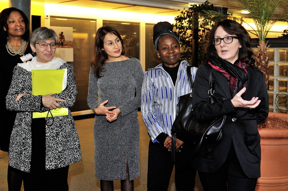 Reception in honour of members of UNHCR's inaugural Advisory Group on Gender, Forced Displacement and Protection. From right to left, advisory group members Dubravka Šimonovic, from Croatia, speaking; Kah Walla, from Cameroon; Amira Yahyaoui, from Tunisia; Sima Samar, from Afghanistan; Patricia Sellers, from Belgium.