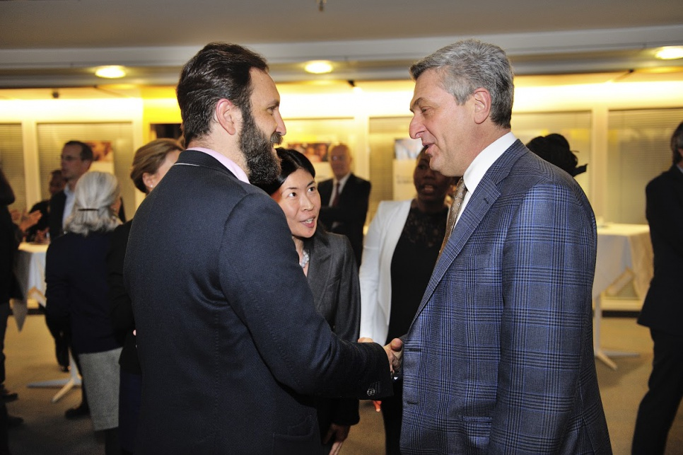 Reception in honour of members of UNHCR's inaugural Advisory Group on Gender, Forced Displacement and Protection. UNHCR High Commissioner Filippo Grandi meeting Pablo Collada, from Mexico.