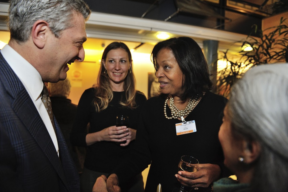 Reception in honour of members of UNHCR's inaugural Advisory Group on Gender, Forced Displacement and Protection. UNHCR High Commissioner Filippo Grandi meeting Patricia Sellers, from Belgium.