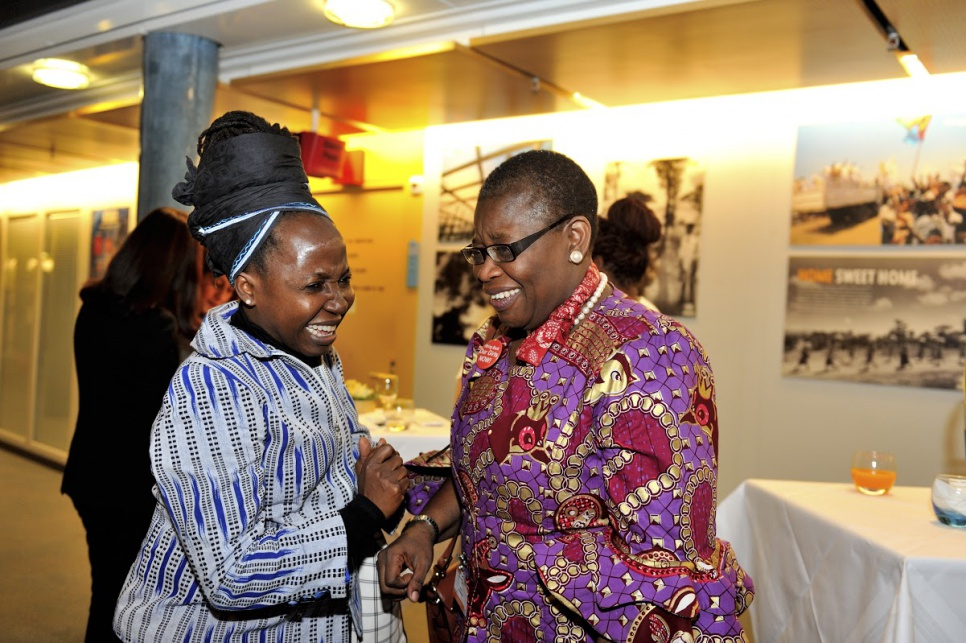 Reception in honour of members of UNHCR's inaugural Advisory Group on Gender, Forced Displacement and Protection. Advisory group members Kah Walla at left and Obiageli Ezekwesili at right