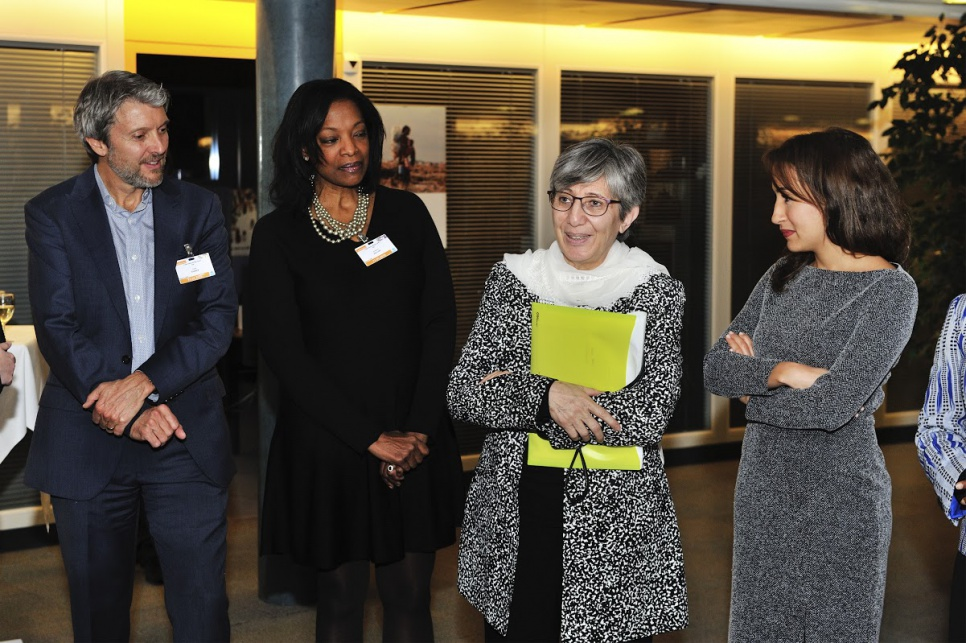 Reception in honour of members of UNHCR's inaugural Advisory Group on Gender, Forced Displacement and Protection. From right to left, advisory group members Amira Yahyaoui, from Tunisia; Sima Samar, from Afghanistan; Patricia Sellers, from Belgium; Gary Barker, from USA.