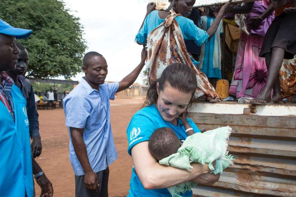 Kristin welcomes new arrivals into the Adjumani Transit Centre. 87 per cent of the South Sudanese are women and children.