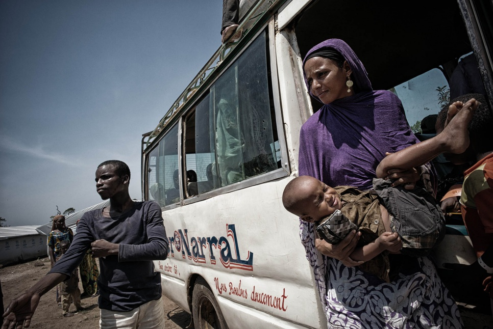 Hamina arrives in Gado-Badzere, Cameroon, where she and her two sons are soon reunited with their father, Idris.