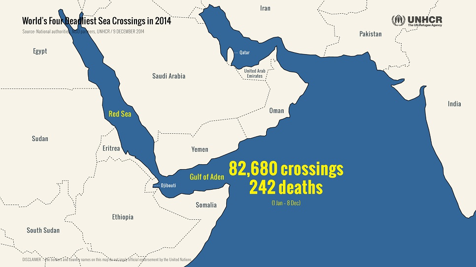 Hundreds have died this year crossing the Gulf of Aden and the Red Sea, mainly en route from Ethiopia and Somalia to Yemen or onwards to Saudi Arabia and other Gulf countries.