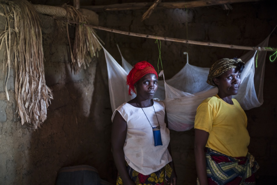 Malaria is a serious problem in Uganda's Nakivale refugee settlement. As community health workers, Vaste and Dorothée distribute mosquito nets to help prevent the disease.