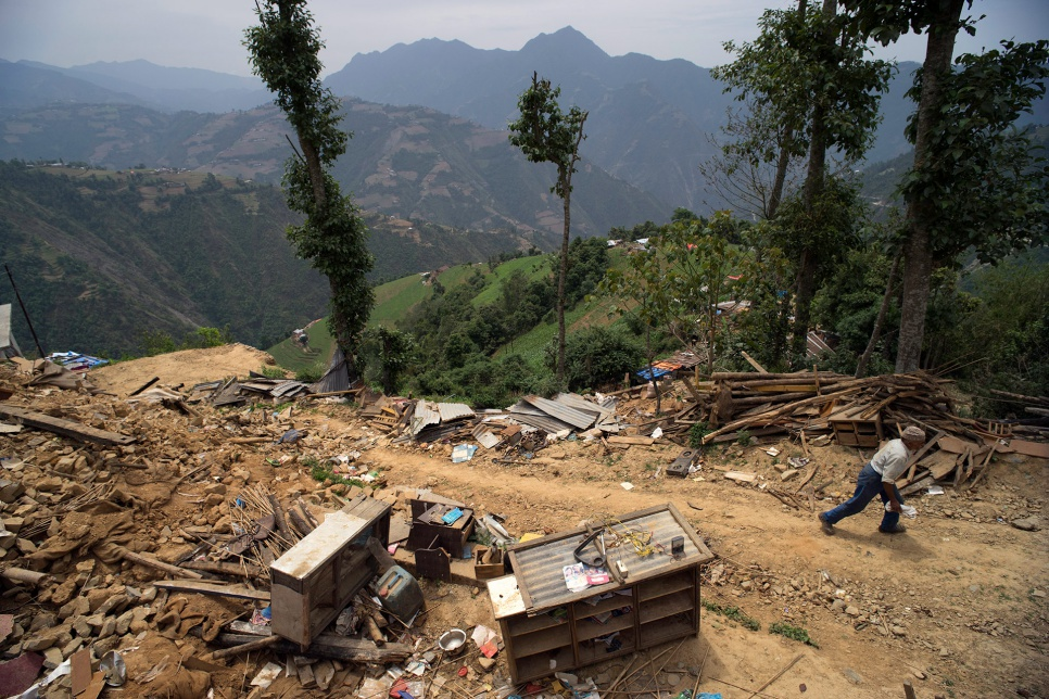 The April earthquake destroyed many homes built upon the steep terrain of Jhankridanda village, in Nepal's Lalitpur District.