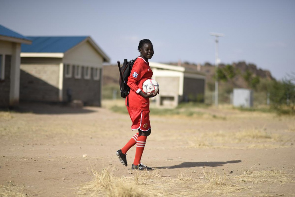 """I like football because it helps me to relax. It is a very popular sport in the camp,"" Esther says."