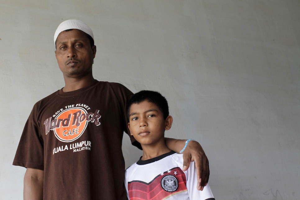 Yasin* (right) was orphaned in May when his parents drowned after jumping from their sinking smugglers' boat off Aceh, Indonesia.