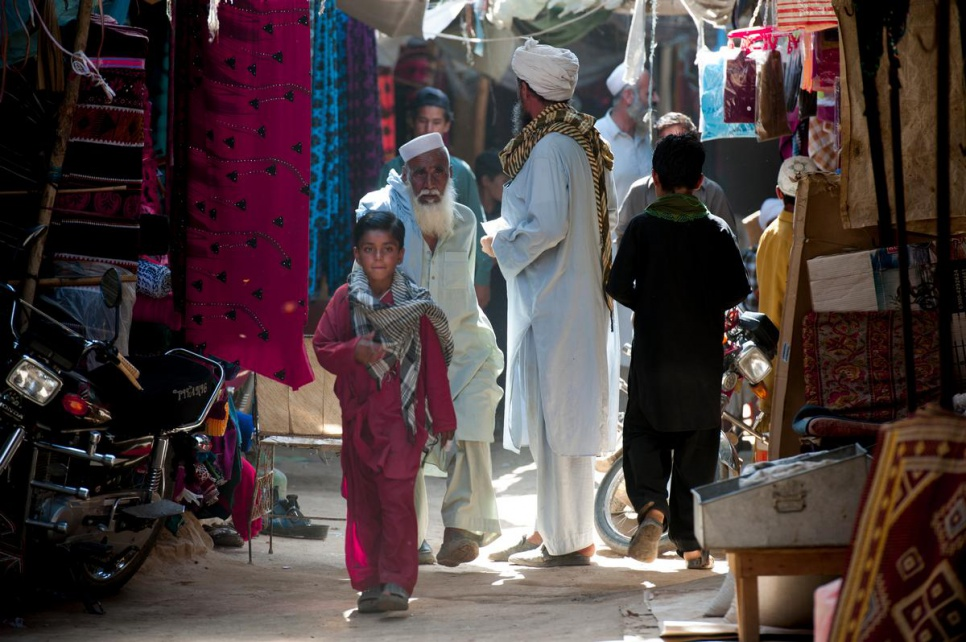 A view of the marketplace in Kot Chandana refugee village in Mianwali, Pakistan. More than 14,000 Afghan refugees are currently living in the village.