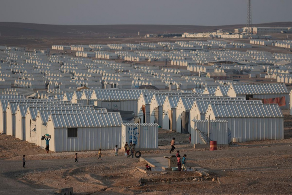 Azraq camp in Jordan, just before sunset.