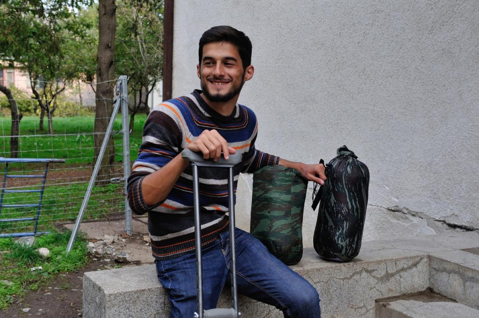 Gabriel*, who was an English teacher in Syria, contracted polio as a child and walks with crutches. UNHCR staff pulled him from the line of those waiting to register at the Presevo reception centre in Serbia to check on his needs.<br><br><em>*not his real name</em>