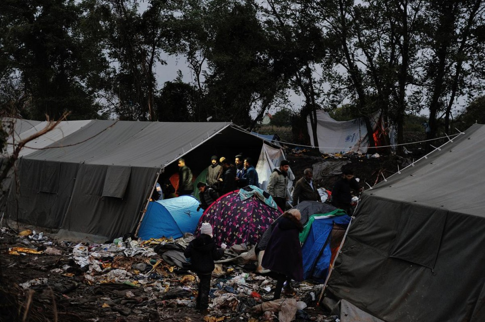 Tents were erected to help protect some of the 2,000 refugees and migrants stranded in the rain in Berkasovo, Serbia, just across the border from Croatia.