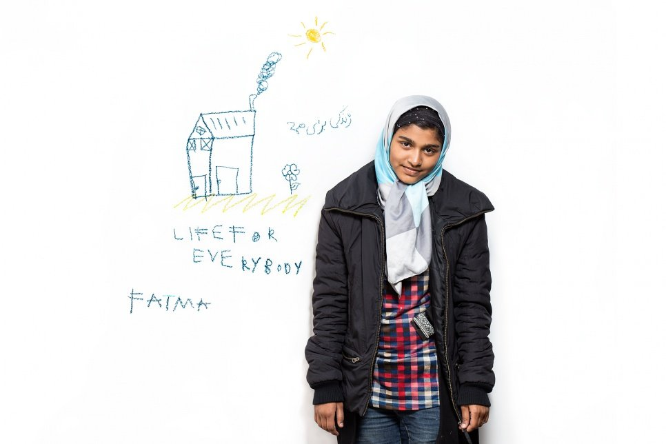 Fatima, 10, from Afghanistan.<br><br>Like many of the refugees we met, Fatima was much younger than we expected and, like many of the children, she drew a future home. She participated in the afternoon and by the evening she and her family had moved on.