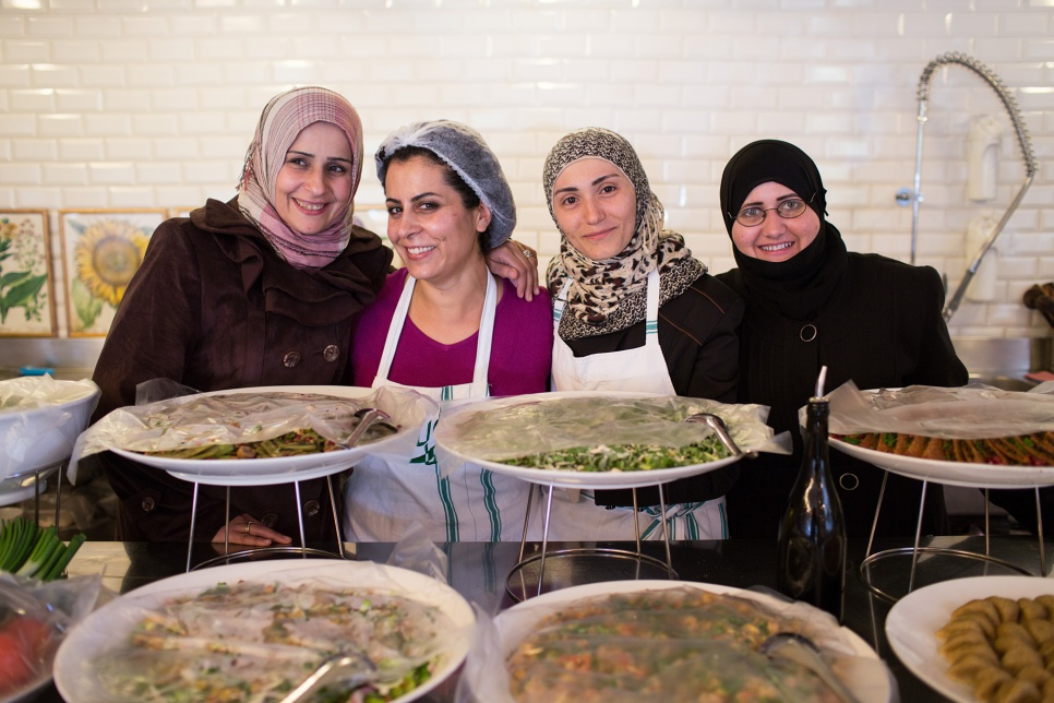 The chefs at Tawlet restaurant in Beirut include (from left to right) Rasha Mhemid, Nahrein Abdal, Mariam Al Bakkour and Ibtisim Masto – all refugees from Syria.