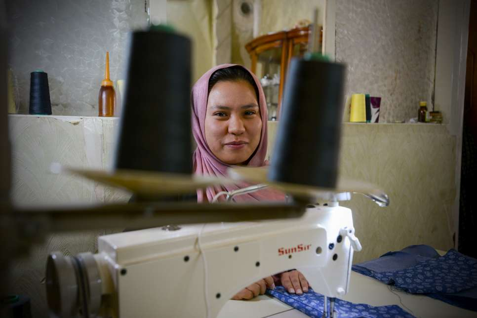 Iran, UNHCR livelihood project for Afghan refugees providing sewing machines for vulnerable families